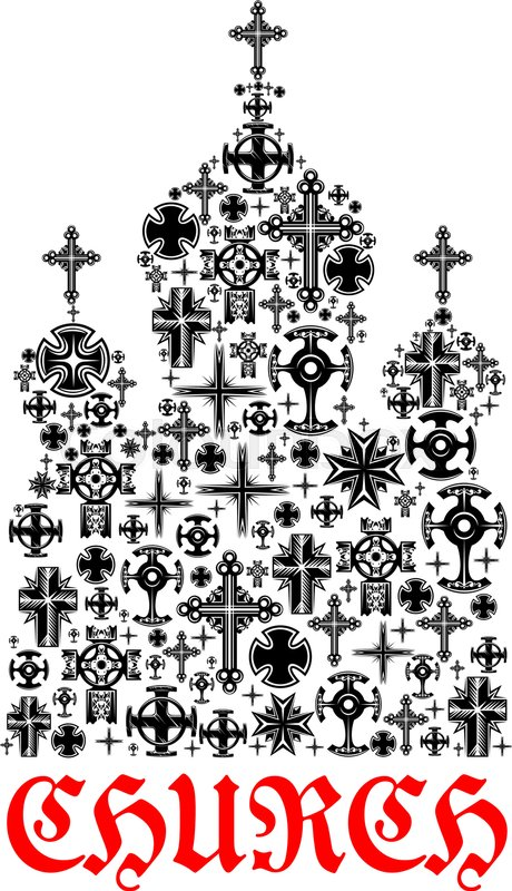 Church Icon Religion Christianity Cross Symbols In Shape Of Temple