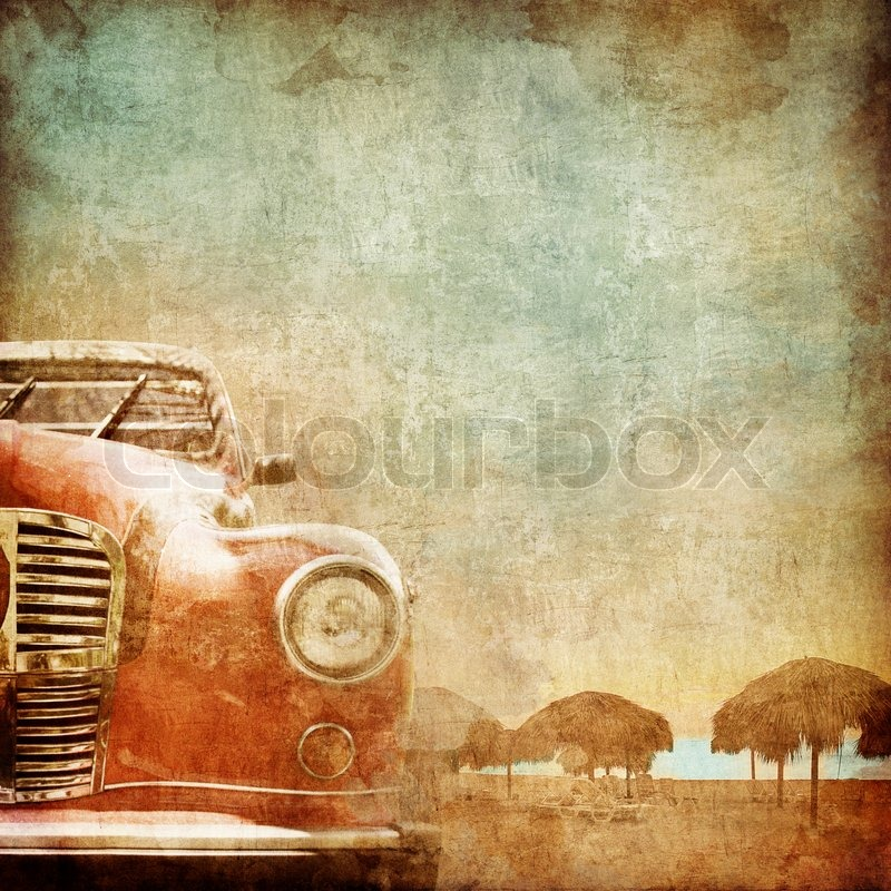 Old Car on the Old Paper Style Photo. Stylization. | Stock Photo ...