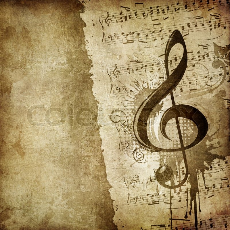 Old Paper Retro Music Texture Background With Classic