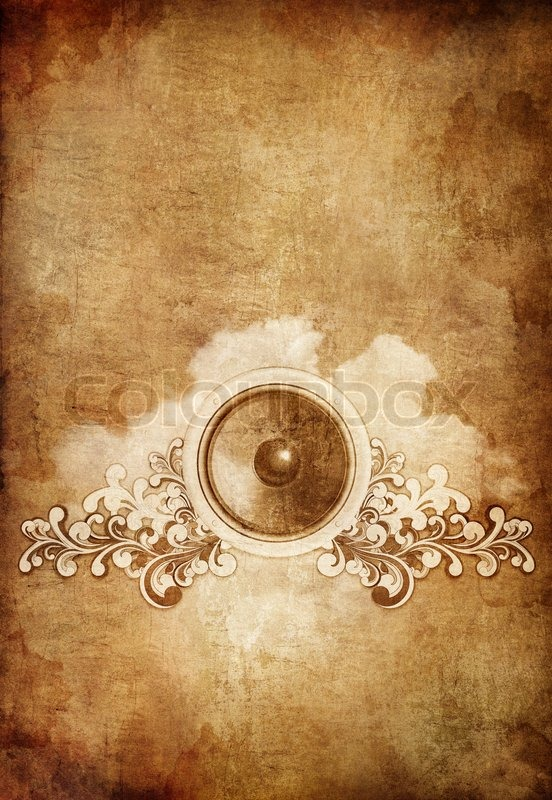 Old Paper Retro Music Party Texture Background on Ornate Leaf Box