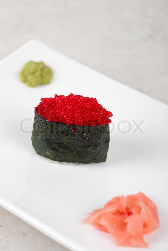Red tobiko with flying fish roe sushi ... | Stock Photo ...