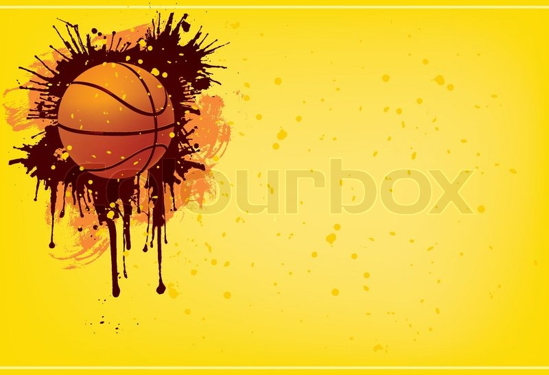 Abstract Grungy Background With Volleyball Arrowhead: Basketball Ball On The Blue Background. Vector.