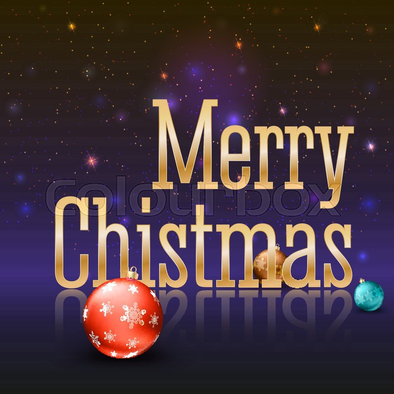 Greeting card with a big golden inscription Merry Christmas and ...
