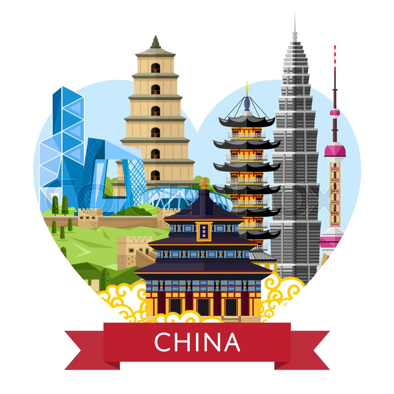 china travel banner with famous traditional and modern buildings on