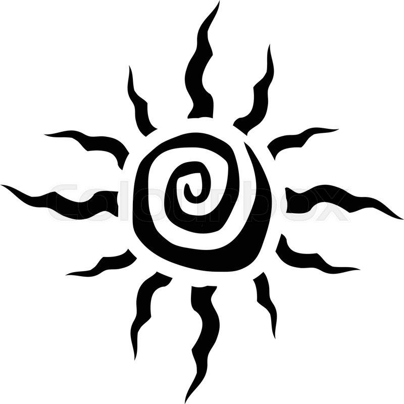 tribal sun spiral vector icon stock vector colourbox rh colourbox com Tribal Sun Clip Art Tribal Sun Tattoos