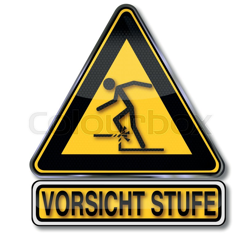 schild mit vorsicht stufe und warnung vor stolpergefahr vektorgrafik colourbox. Black Bedroom Furniture Sets. Home Design Ideas