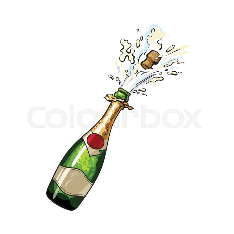 champagne bottle with cork popping out sketch style vector