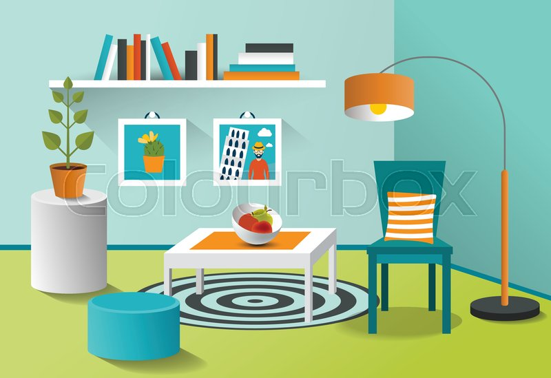 Interior living room Mpdern minimalism design Art cartoon vector