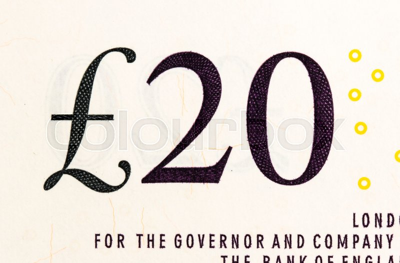 Pound Currency Background Close Up 20 Pounds Stock Photo