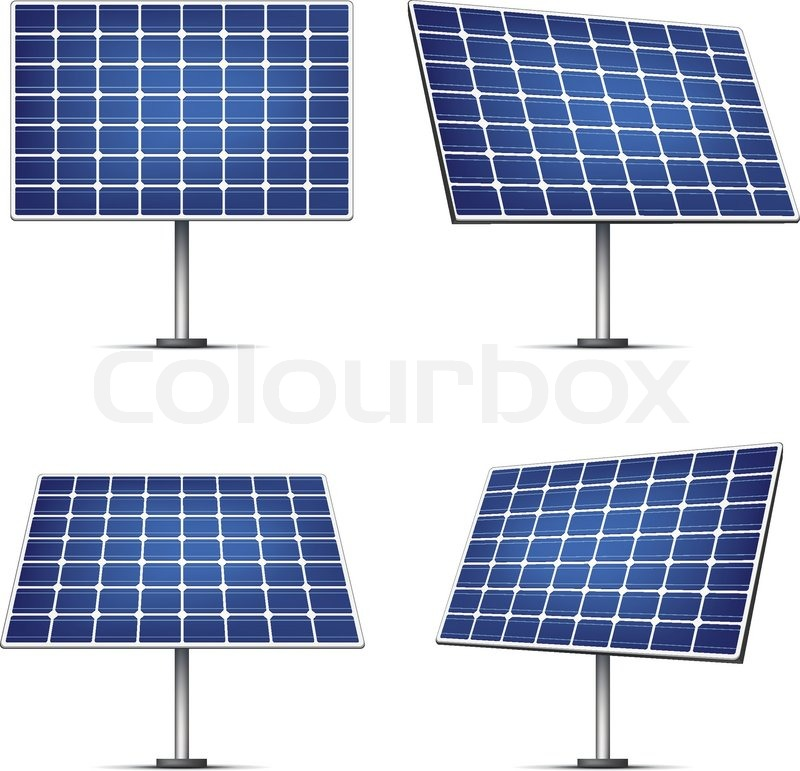 Solar Panels Isolated On White Background Vector Stock
