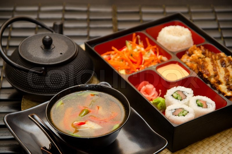 Sushi Frokost Med Suppe Salat Te Og Stock Foto Colourbox