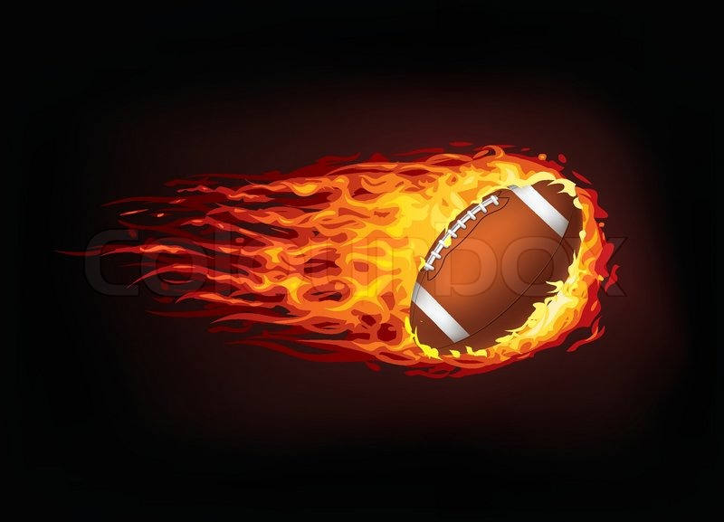 football ball in fire isolated on black background  vector