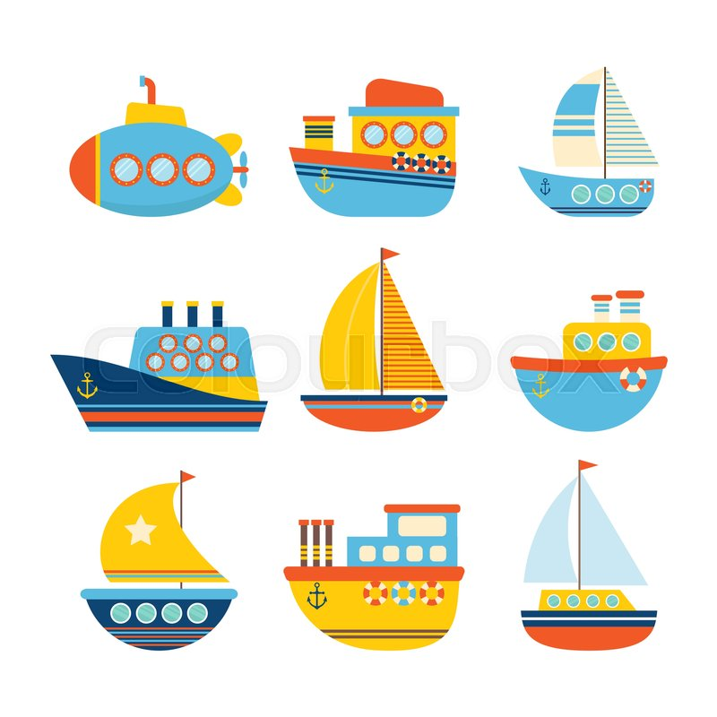 set of sea transport different kind of boats fishing boats yachts