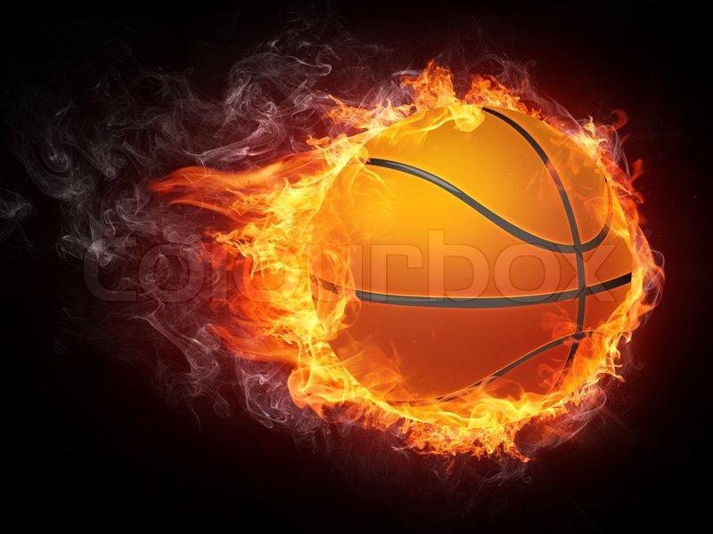 Basketball Ball on Fire. 2D Graphics. Computer Design ...