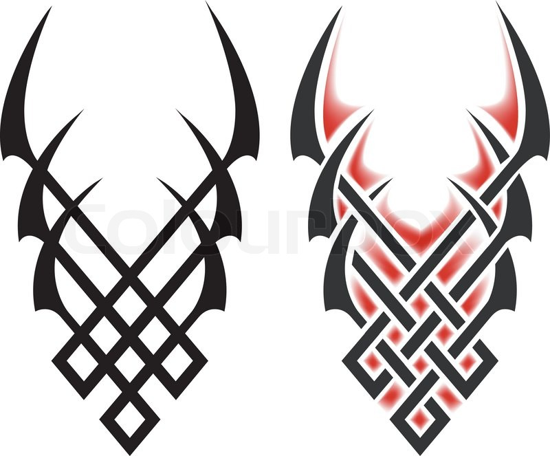 black flames for tattoo and tribal, vector illustration on white