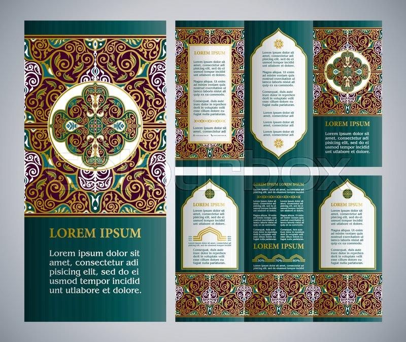 Vintage islamic style vector brochure and a4 flyer design for Islamic brochure design