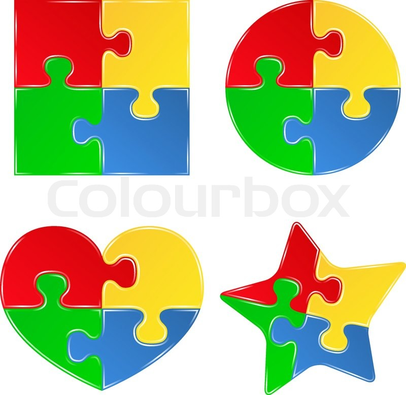 Vector Shapes Of Jigsaw Puzzle Pieces