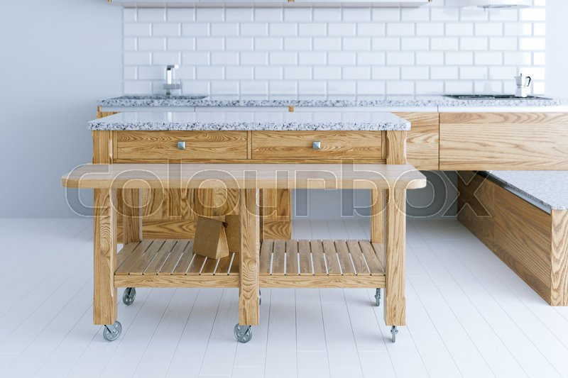 Perfect idea for kitchen interior design with wooden furniture, stock photo