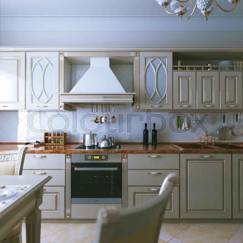 Kitchen Design Rendering: Classic Beige Kitchen Cabinet With ...