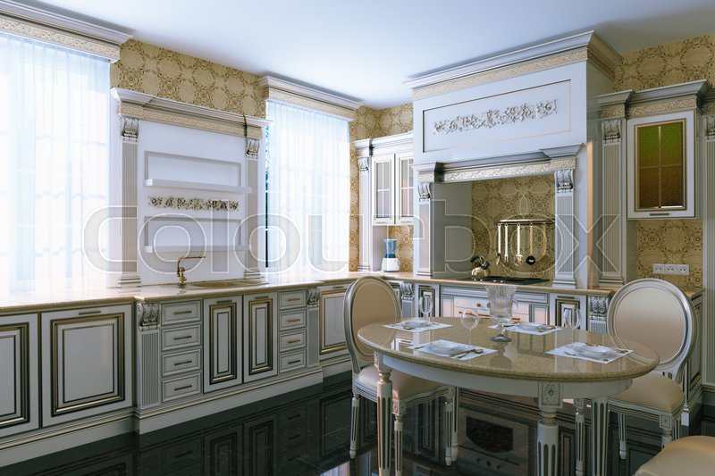Luxury vintage kitchen interior with dining area. 3d render, stock photo