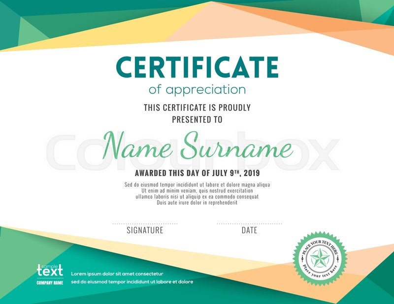modern certificate with green polygonal background design template rh colourbox com vector certificate design vector certificate border