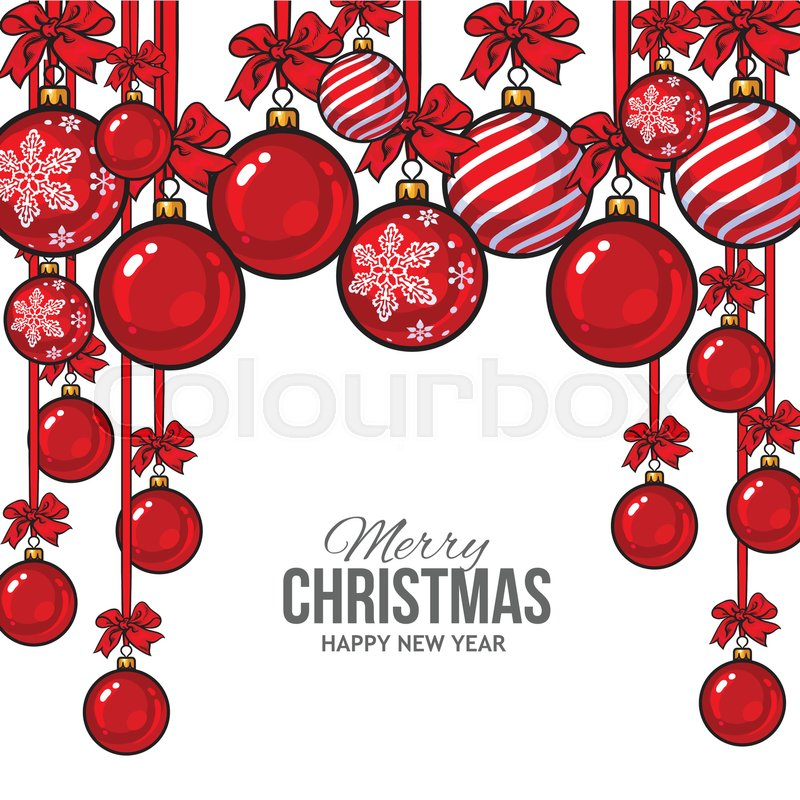 Red Christmas Balls With Red Ribbon And Bows, Vector Greeting Card