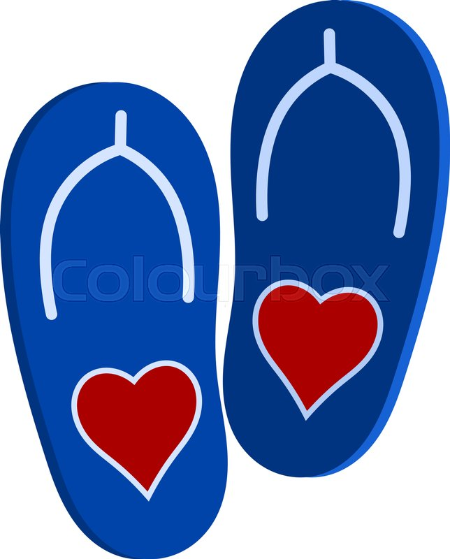 Vector Illustration Of A Pair Of Blue Slap A Red Heart Symbol Of