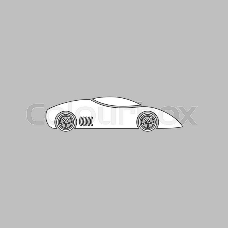 Sport Car Simple Line Vector Button Thin Line Illustration Icon