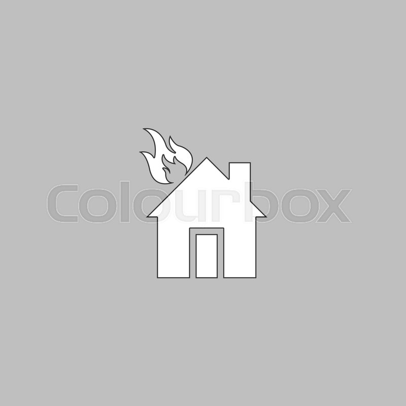 House Fire Simple Line Vector Button Thin Illustration Icon White Outline Symbol On Grey Background