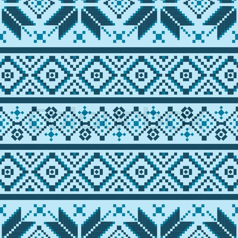 Winter Seamless Pixel Pattern Pastiche Scandinavian Embroidery