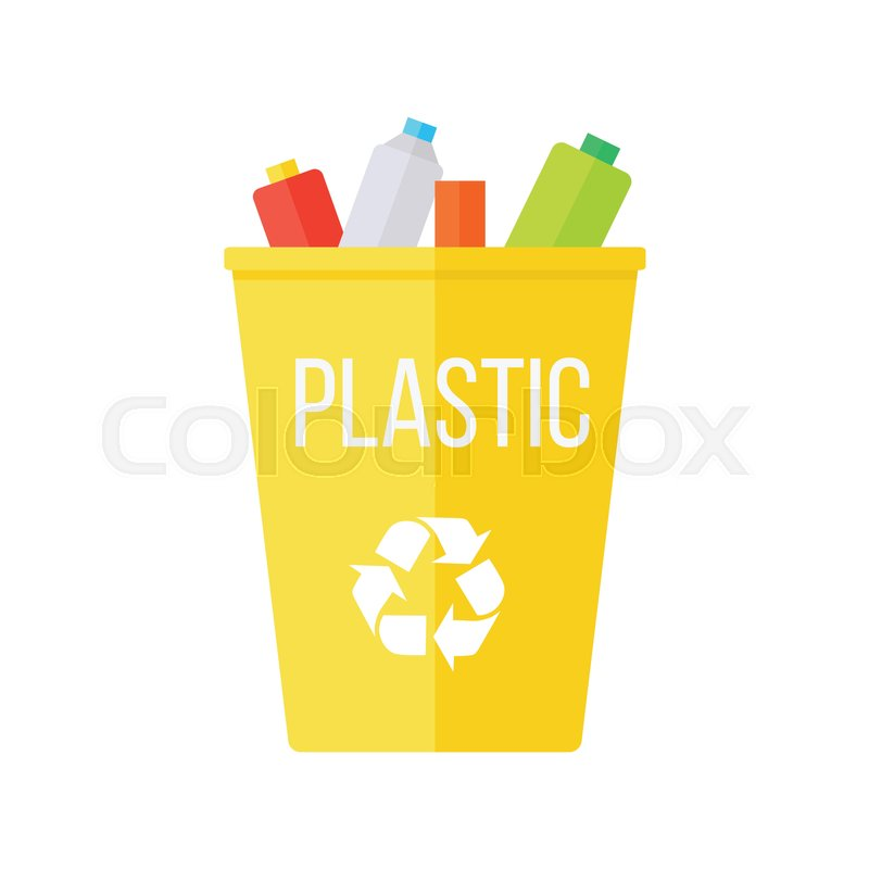 Yellow Recycle Garbage Bin With Plastic Reuse Or Reduce Symbol