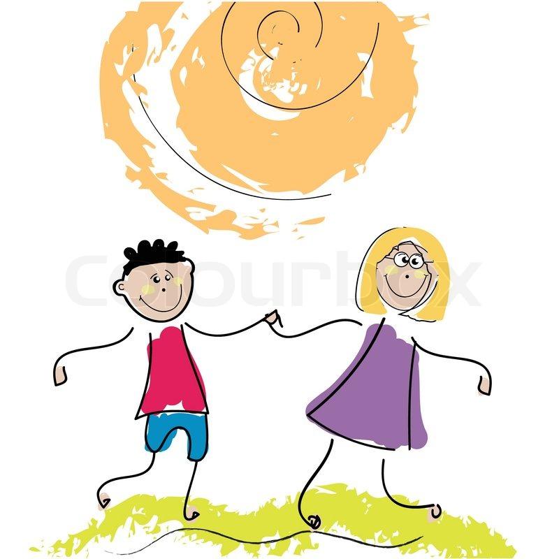 happy kids illustration clip art stock vector colourbox rh colourbox com