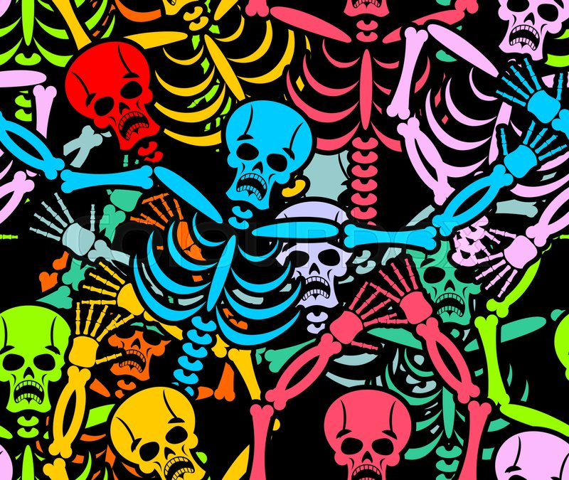 Day Of The Dead Seamless Pattern Multicolored Skeleton Ornament Skull Texture Background For National Holiday In Mexico