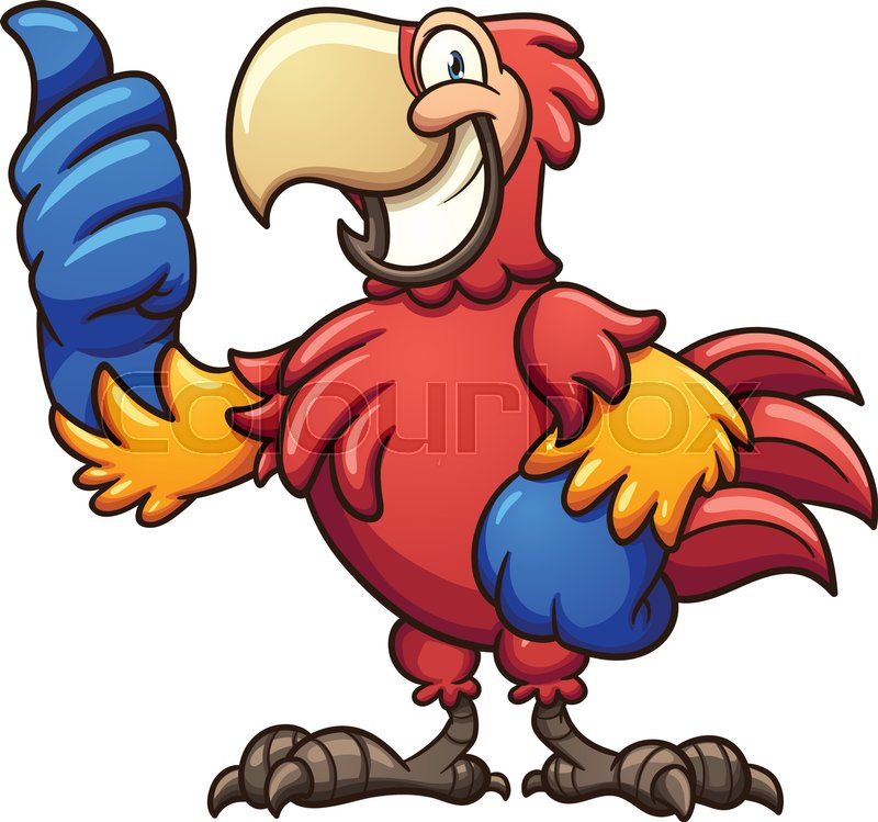 red cartoon macaw with thumbs up vector clip art illustration with rh colourbox com macaw clip art free blue macaw clipart