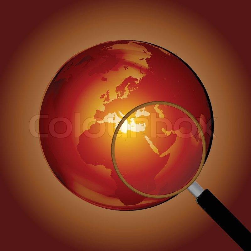 Earth Globe with Magnifying Glass Clip Art | Stock Vector ...