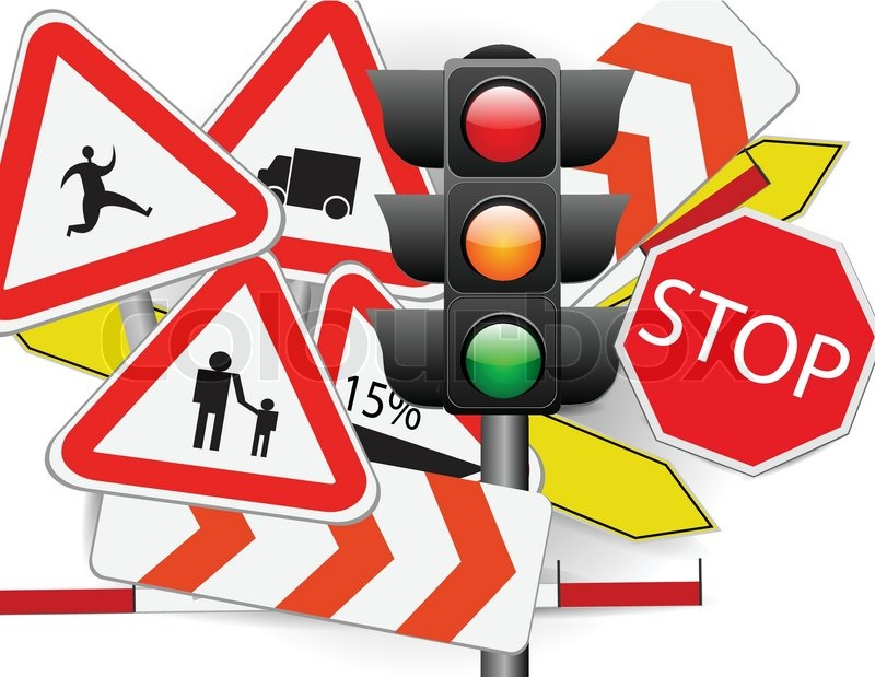 Traffic Signs with Traffic Lights   Stock Vector   Colourbox