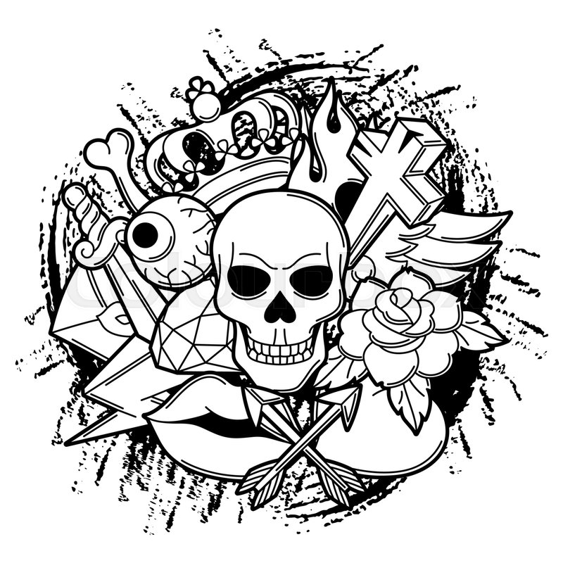 Print With Retro Tattoo Symbols Cartoon Old School Illustration