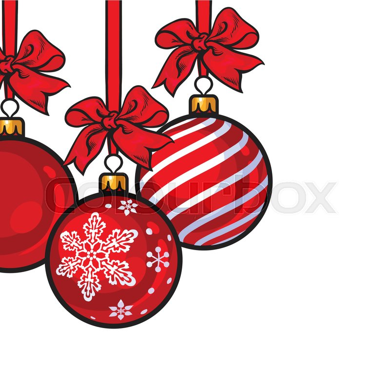 red christmas balls with red ribbon and bows sketch style vector template for greeting card frame or border of hanging red christmas decoration balls - Red Christmas Balls
