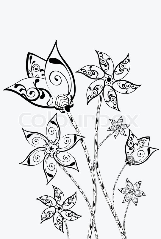 beautiful white background with black decorative flowers vector - Decorative Flowers