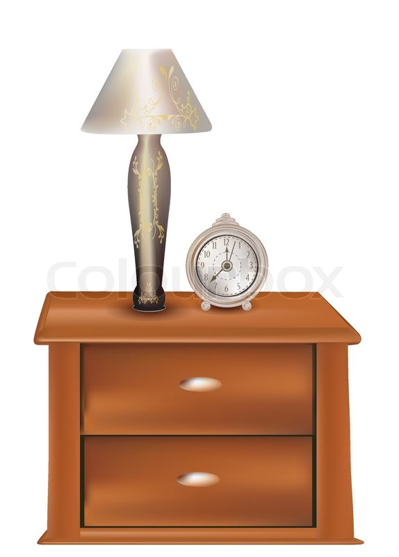 Bedside table clipart  Elegant wooden bedside with vintage lamp and classic alarm clock on ...