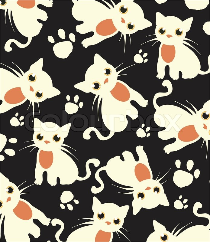 Beautiful Dark Background With White Cats Pattern Vector