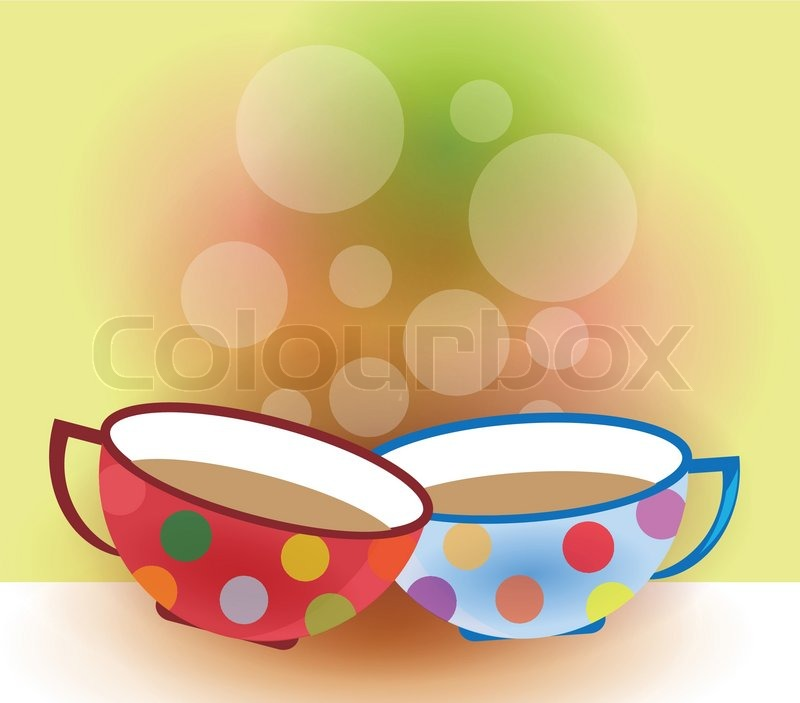two coffee cups on colorful background with bubbles and dots stock