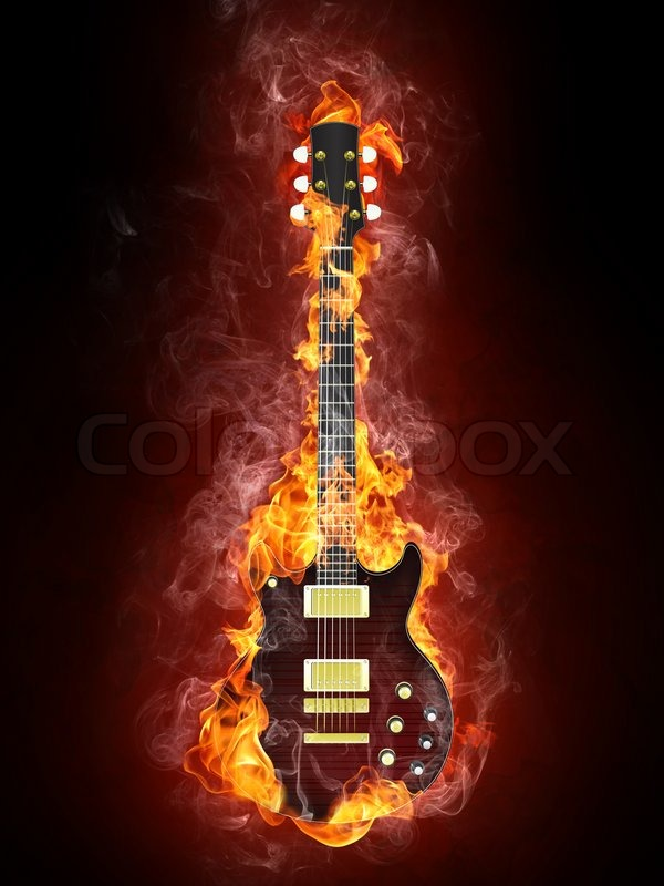 Electric Guitar In Fire Isolated On Black Background Computer Graphics