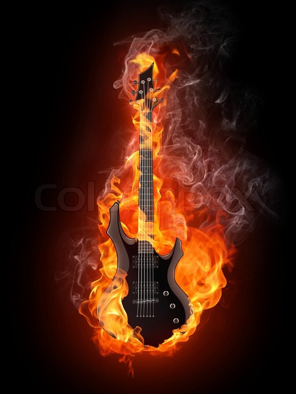 electric guitar art wallpaper fire - photo #24