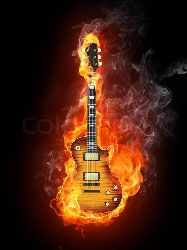 electric guitar art wallpaper fire - photo #14