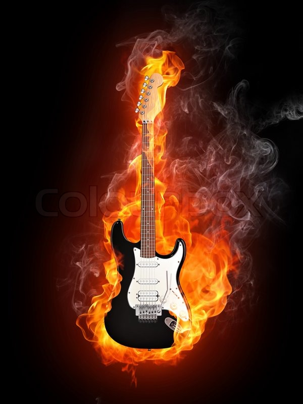 Electric Guitar in fire Isolated on Black Background ...
