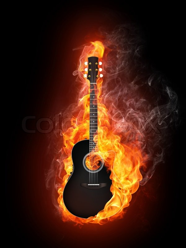 guitar acoustic fire flame - photo #1