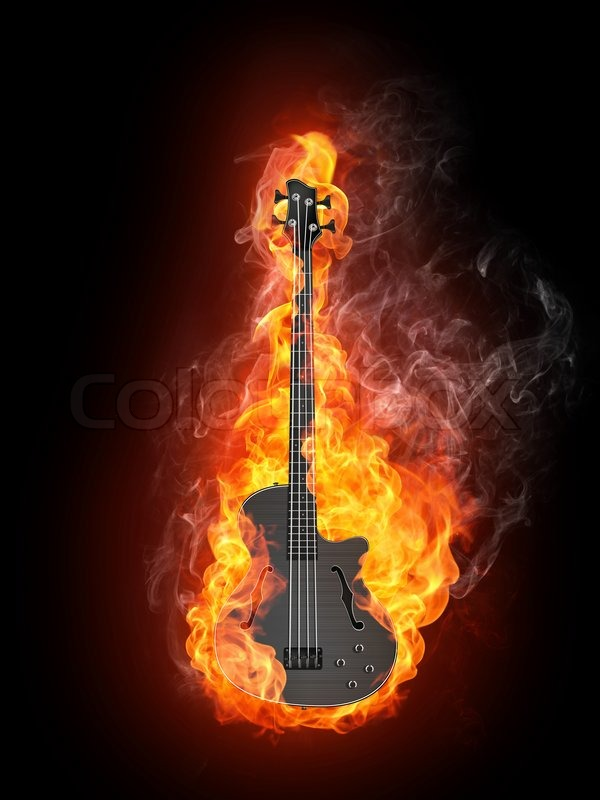 Electric Bass Guitar in fire Isolated on Black Background ...