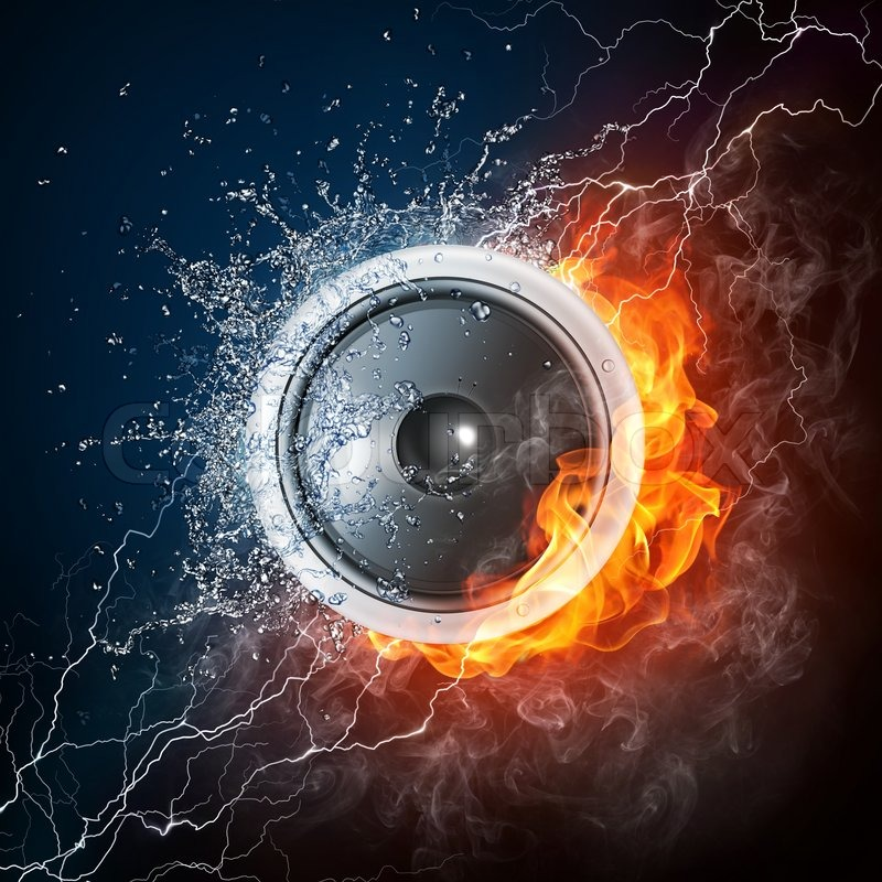 Loudspeaker on Fire and Water Isolated     | Stock image | Colourbox