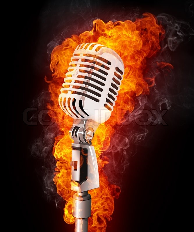 Old Microphone In Fire Computer Graphics Stock Photo